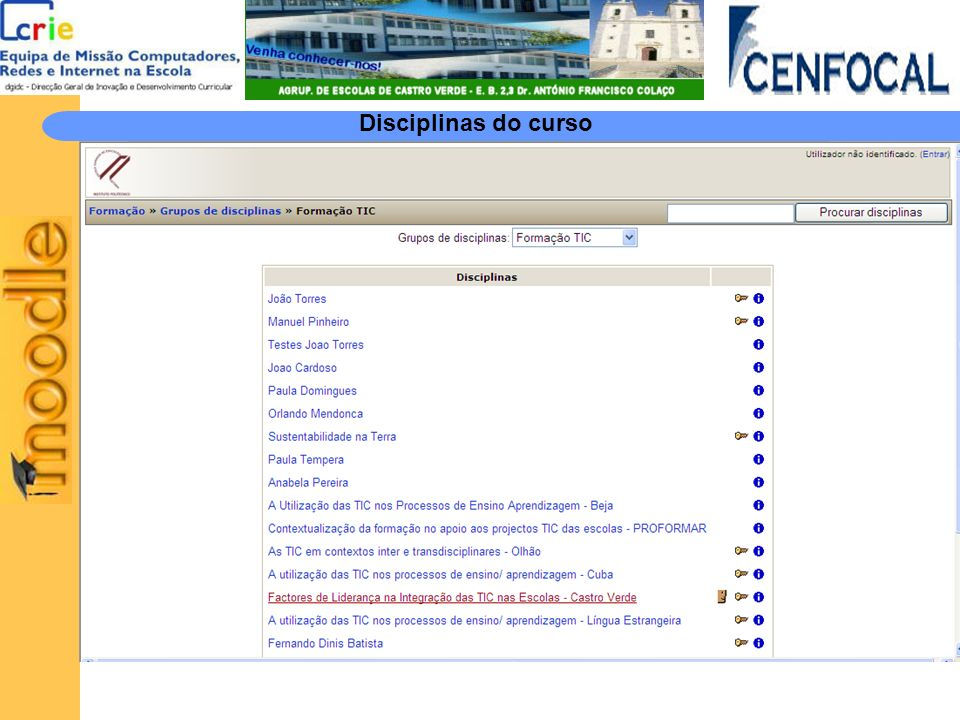 Disciplinas do curso