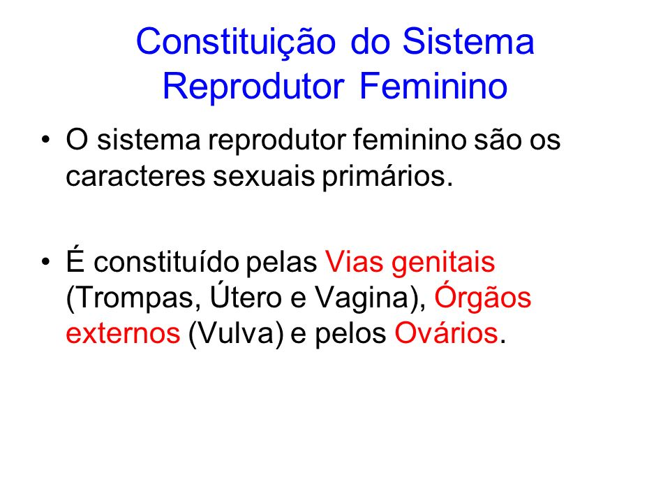 Constituição do Sistema Reprodutor Feminino