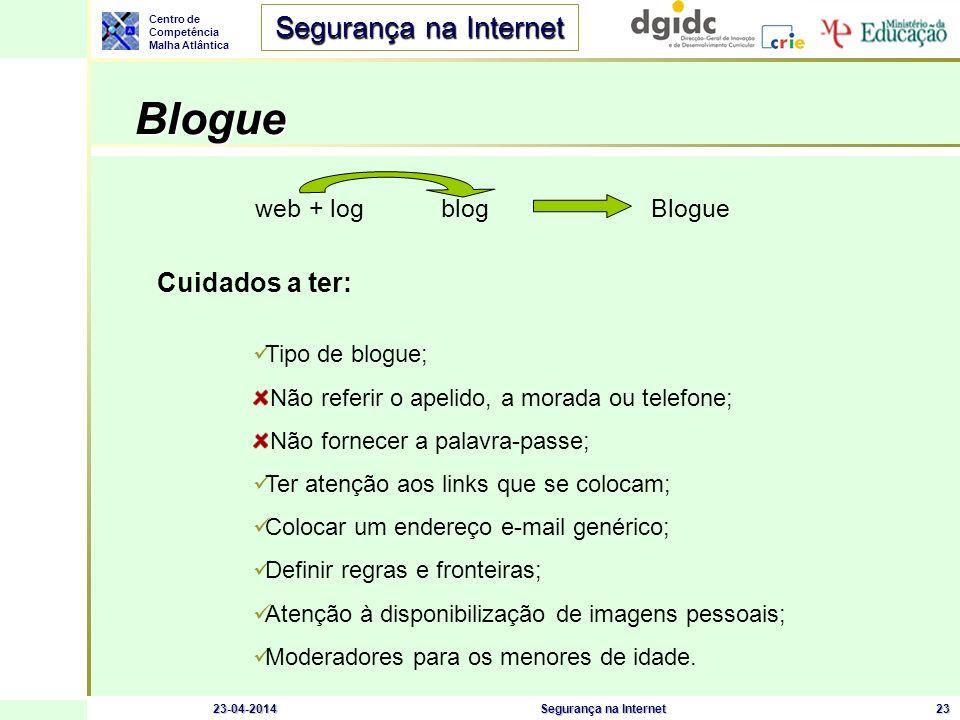 Blogue Cuidados a ter: web + log blog Blogue Tipo de blogue;