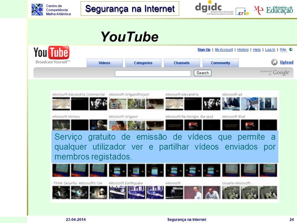 YouTube Serviço gratuito de emissão de vídeos que permite a qualquer utilizador ver e partilhar vídeos enviados por membros registados.