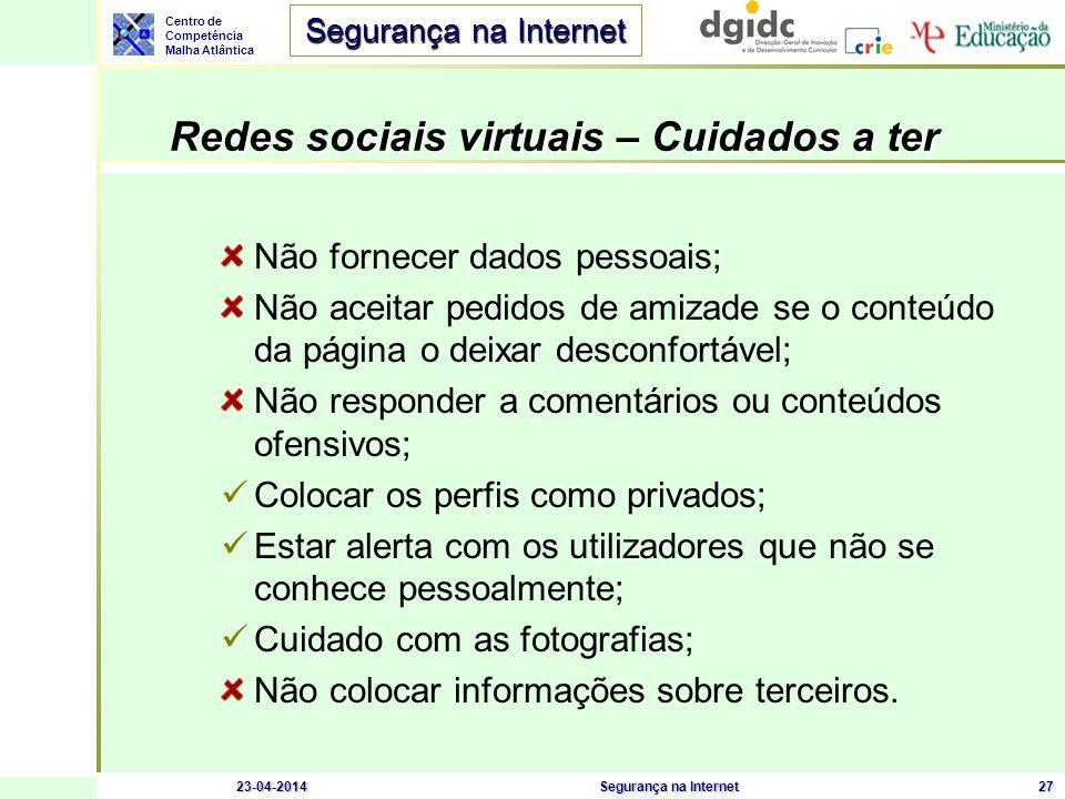 Redes sociais virtuais – Cuidados a ter