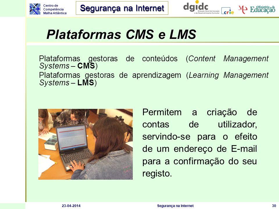 Plataformas CMS e LMS Plataformas gestoras de conteúdos (Content Management Systems – CMS)