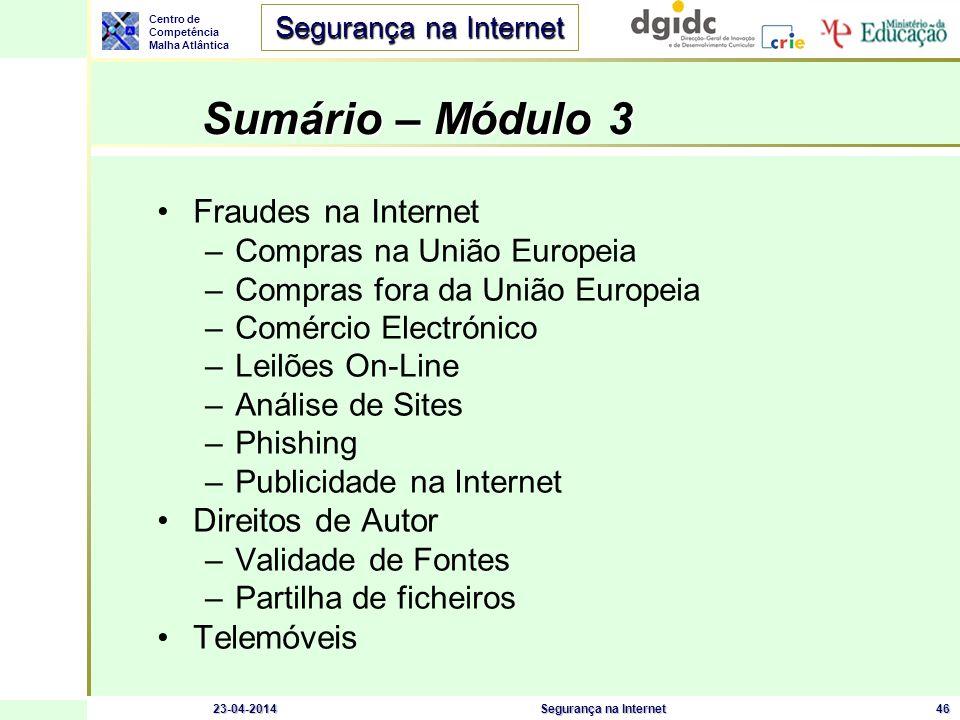 Sumário – Módulo 3 Fraudes na Internet Direitos de Autor Telemóveis