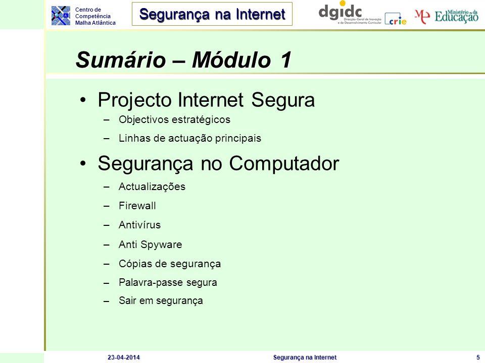 Sumário – Módulo 1 Projecto Internet Segura Segurança no Computador