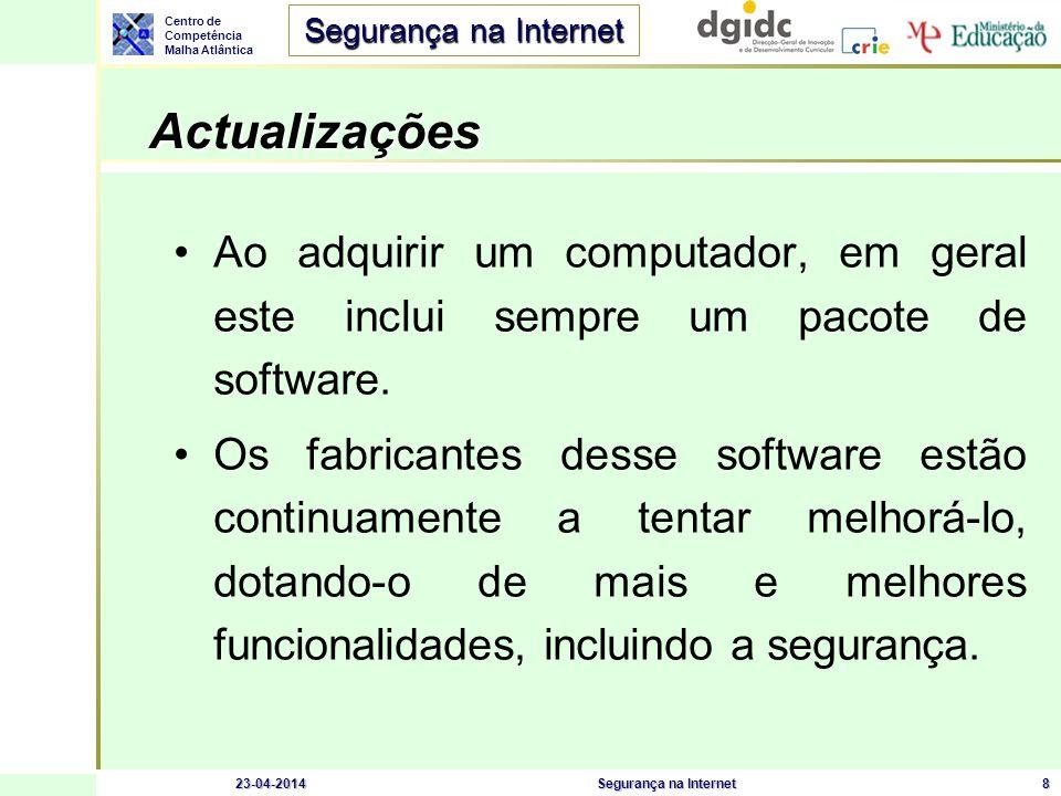 Actualizações Ao adquirir um computador, em geral este inclui sempre um pacote de software.