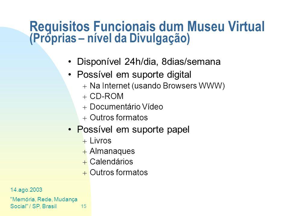 Requisitos Funcionais dum Museu Virtual (Próprias – nível da Divulgação)