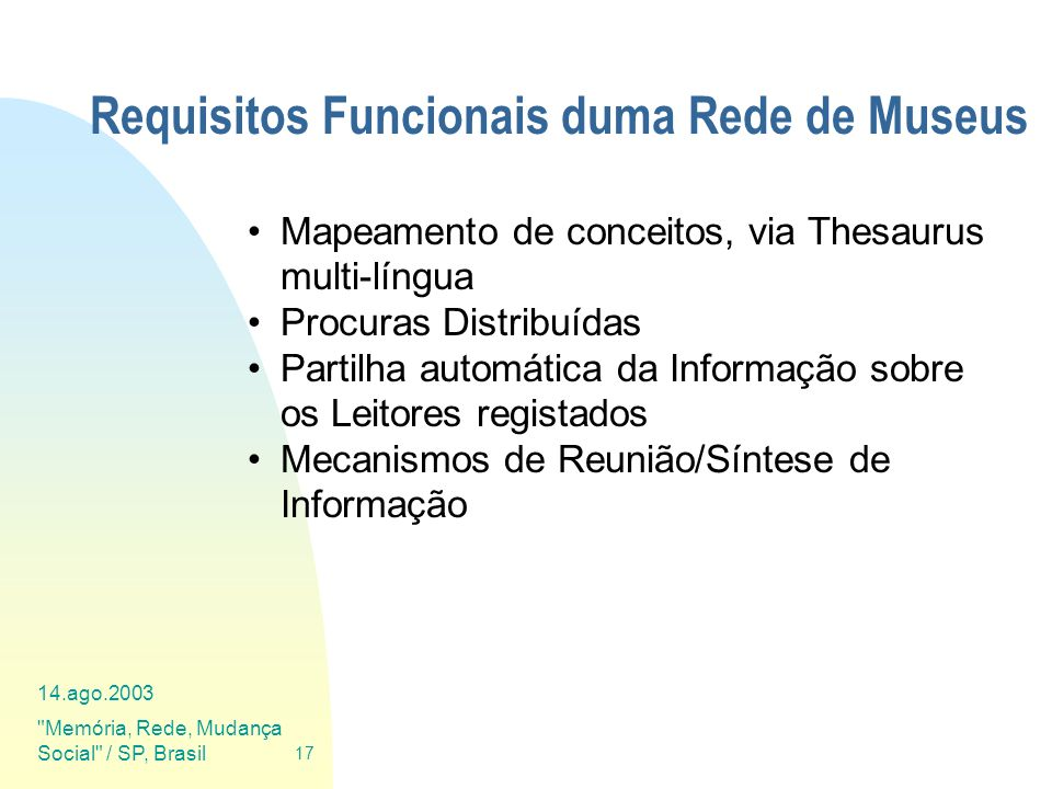 Requisitos Funcionais duma Rede de Museus