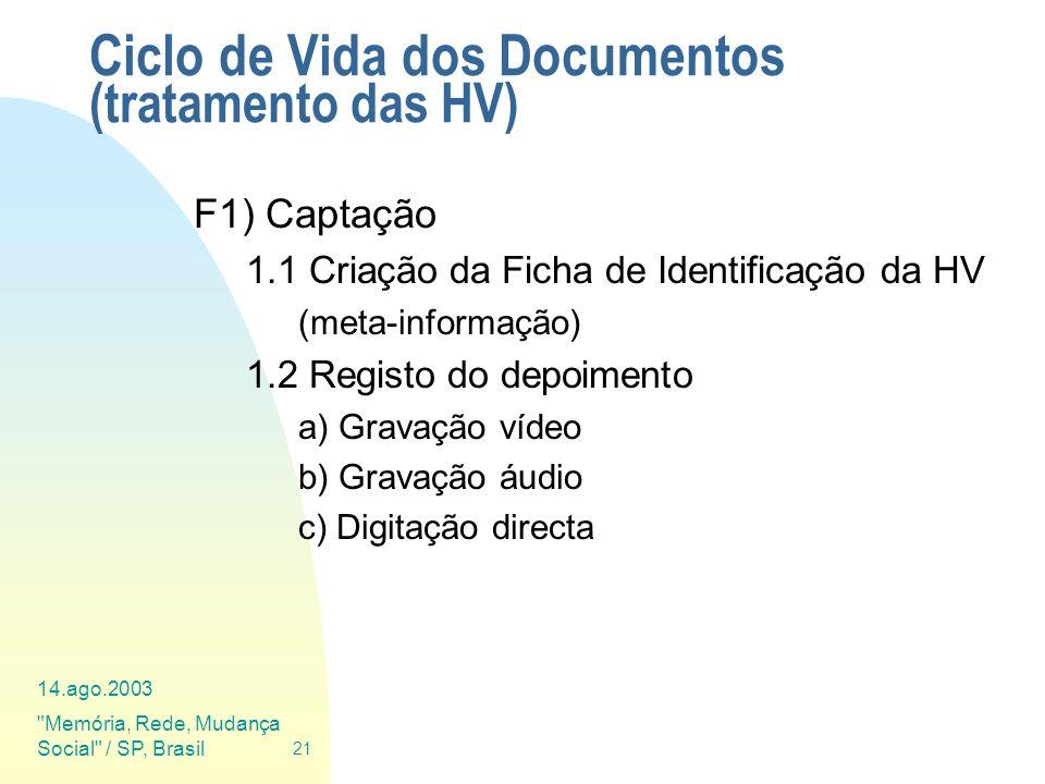 Ciclo de Vida dos Documentos (tratamento das HV)