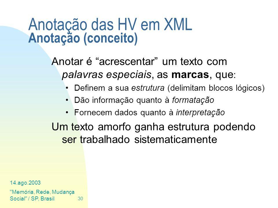Anotação das HV em XML Anotação (conceito)
