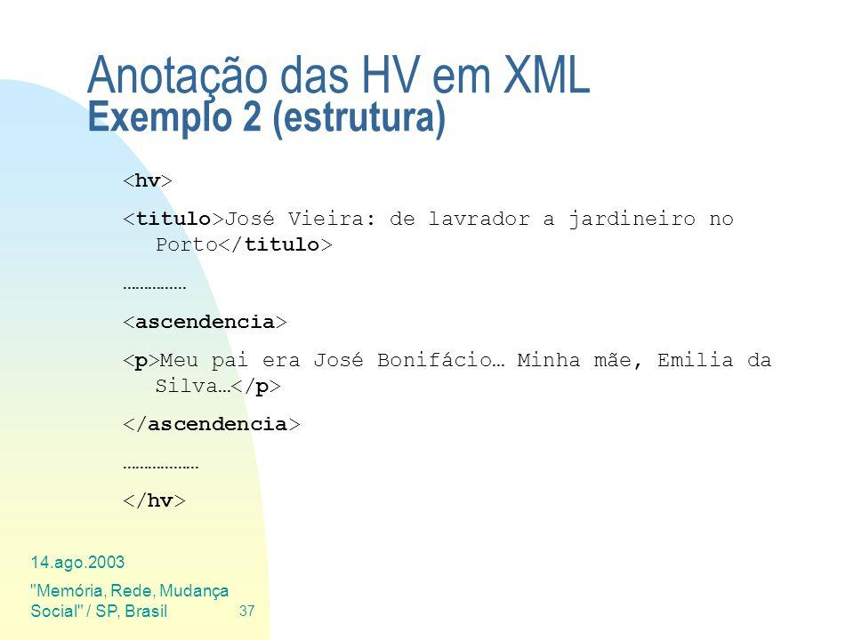 Anotação das HV em XML Exemplo 2 (estrutura)