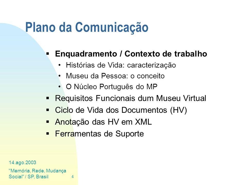 Plano da Comunicação Enquadramento / Contexto de trabalho