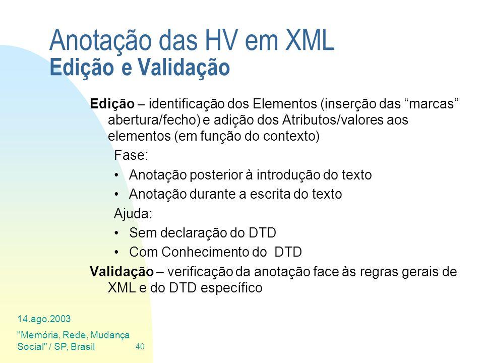 Anotação das HV em XML Edição e Validação
