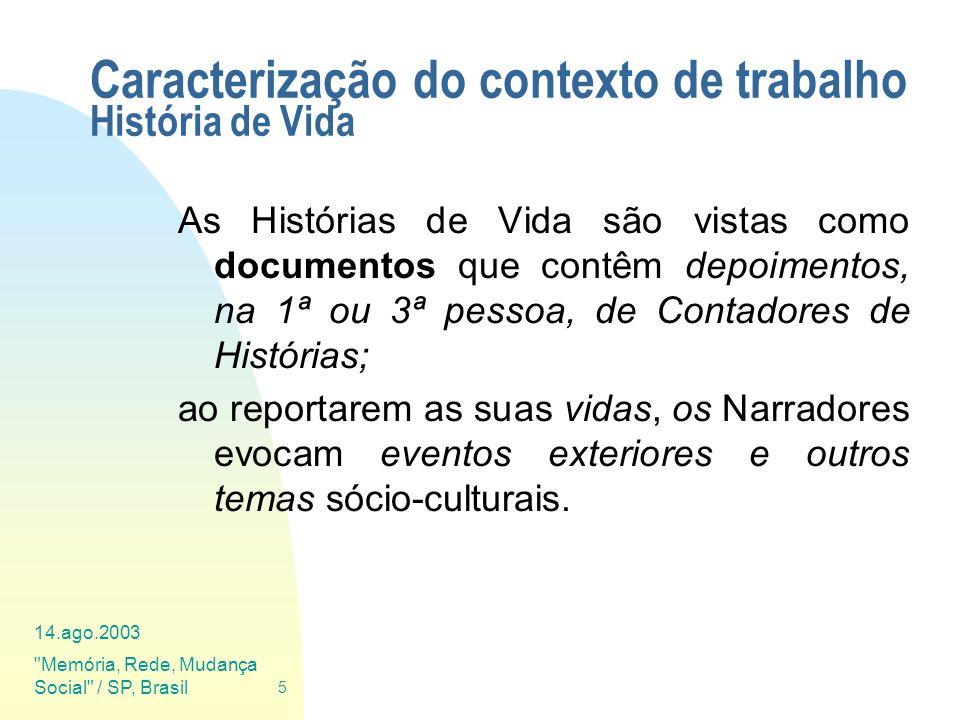 Caracterização do contexto de trabalho História de Vida