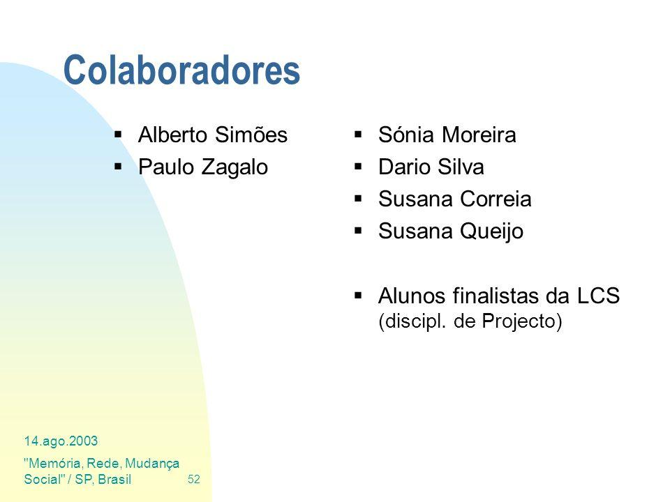 Colaboradores Alberto Simões Paulo Zagalo Sónia Moreira Dario Silva