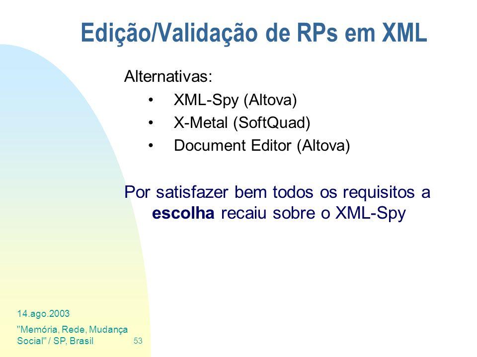 Edição/Validação de RPs em XML