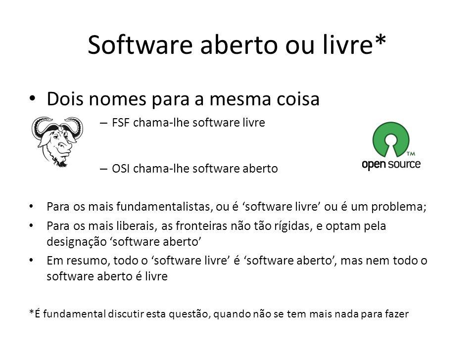 Software aberto ou livre*