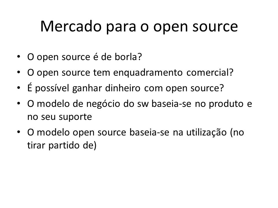 Mercado para o open source