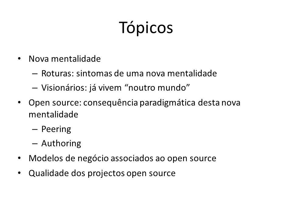 Tópicos Nova mentalidade Roturas: sintomas de uma nova mentalidade