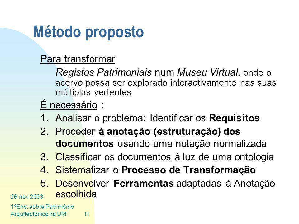 Método proposto Para transformar