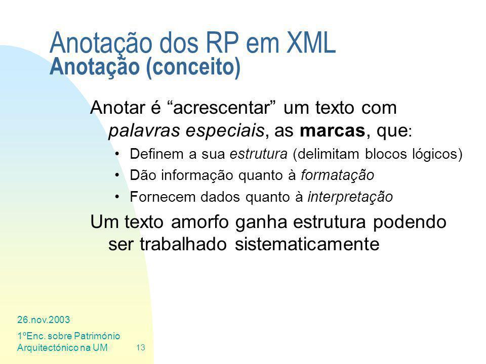 Anotação dos RP em XML Anotação (conceito)