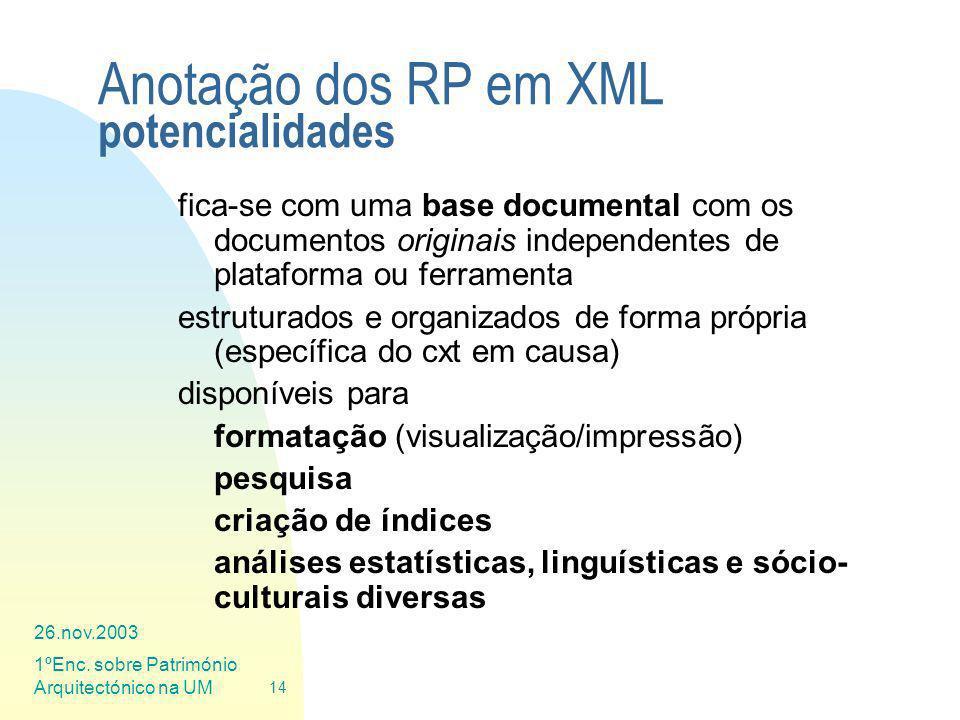 Anotação dos RP em XML potencialidades
