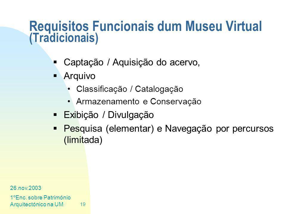 Requisitos Funcionais dum Museu Virtual (Tradicionais)
