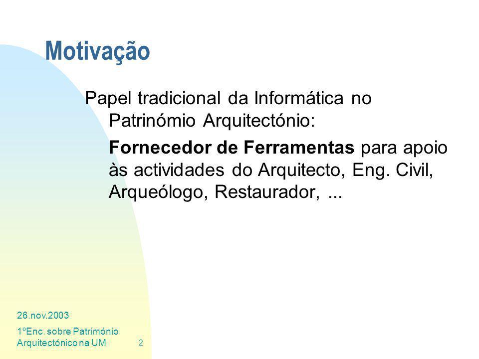 Motivação Papel tradicional da Informática no Patrinómio Arquitectónio: