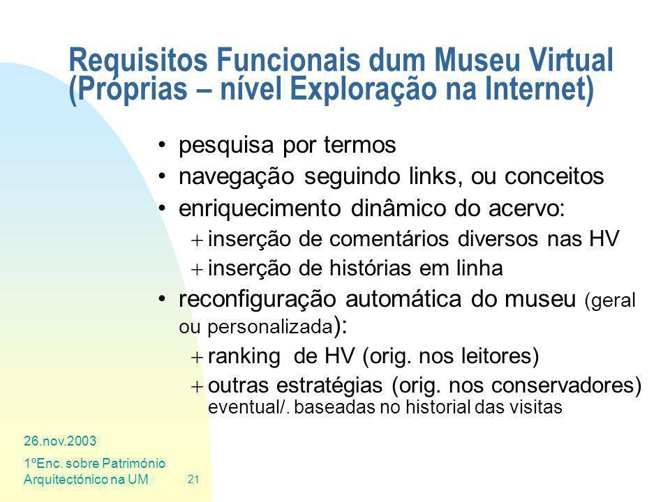 Requisitos Funcionais dum Museu Virtual (Próprias – nível Exploração na Internet)