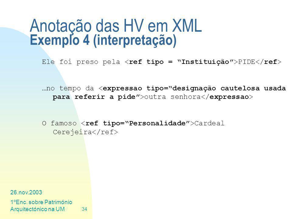 Anotação das HV em XML Exemplo 4 (interpretação)