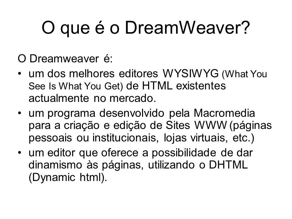 O que é o DreamWeaver O Dreamweaver é: