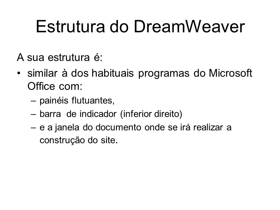 Estrutura do DreamWeaver