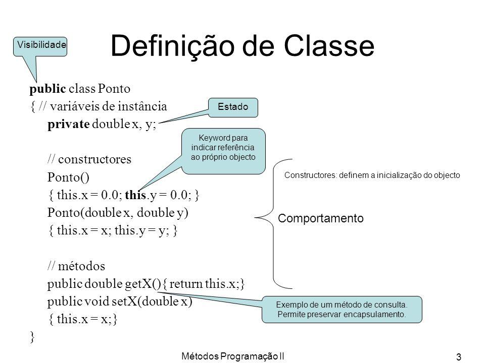 Definição de Classe public class Ponto { // variáveis de instância