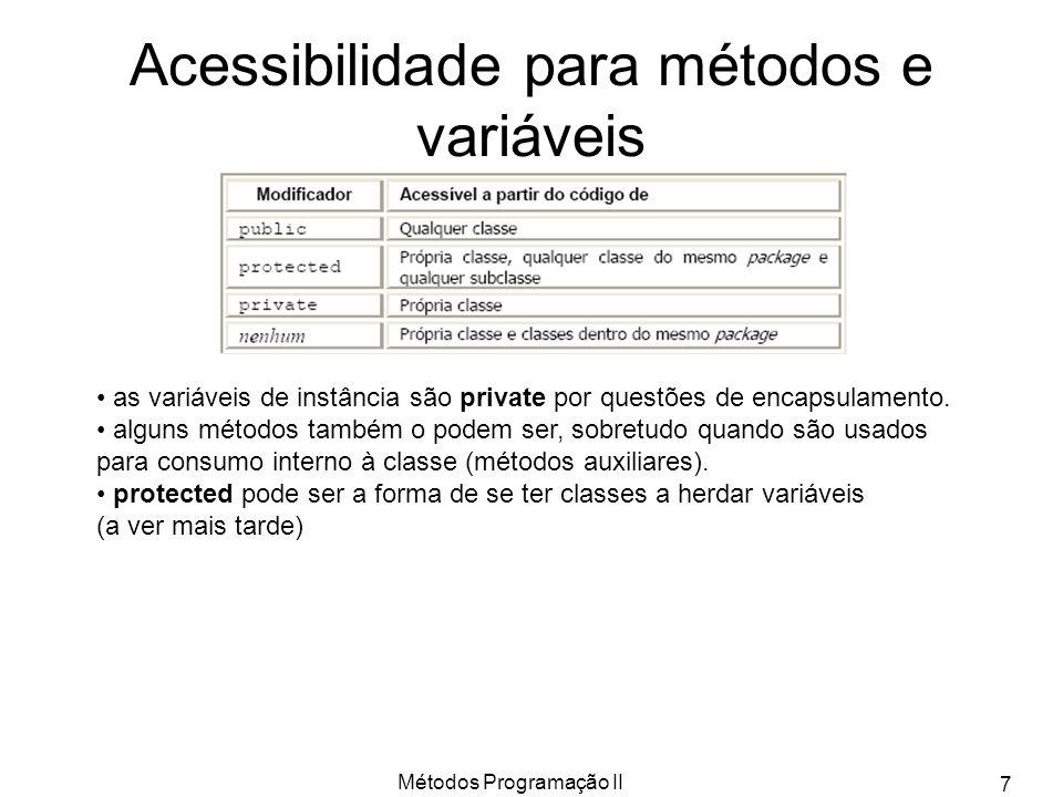 Acessibilidade para métodos e variáveis