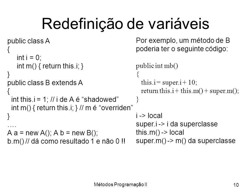 Redefinição de variáveis