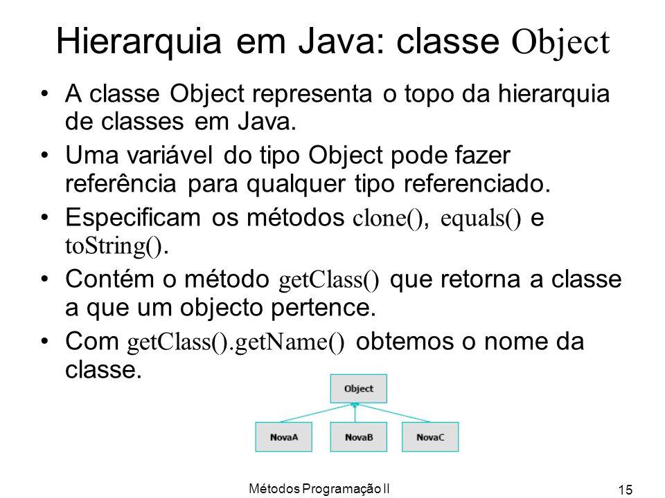 Hierarquia em Java: classe Object