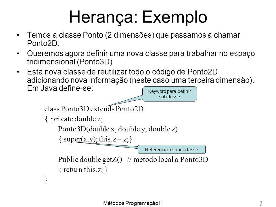 Herança: Exemplo Temos a classe Ponto (2 dimensões) que passamos a chamar Ponto2D.