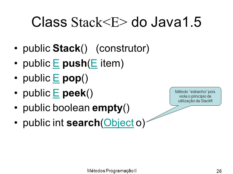 Class Stack<E> do Java1.5