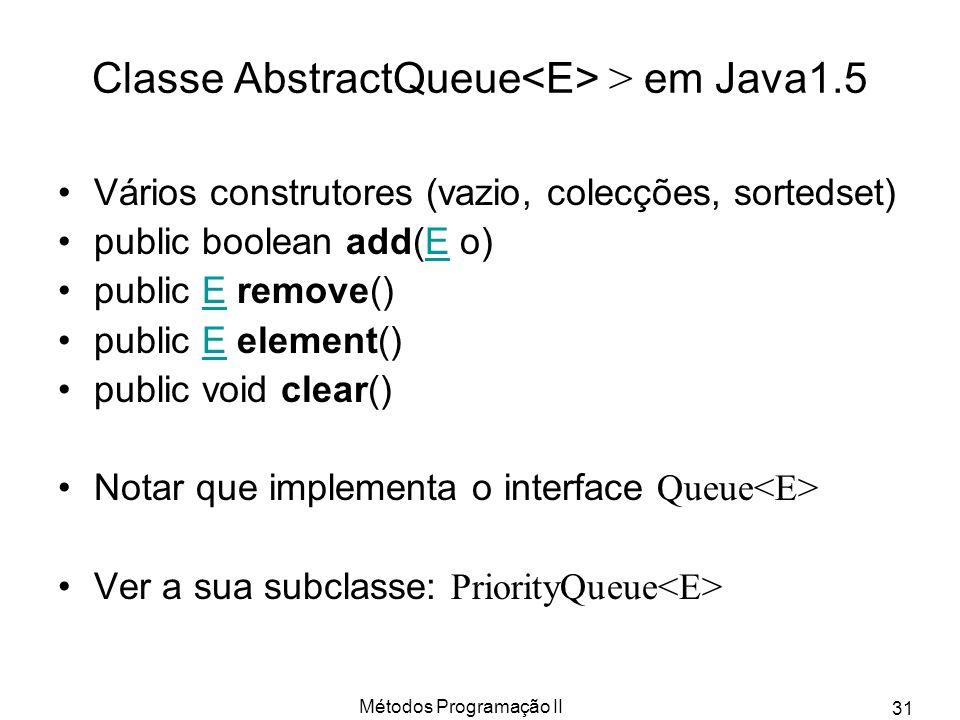 Classe AbstractQueue<E> > em Java1.5