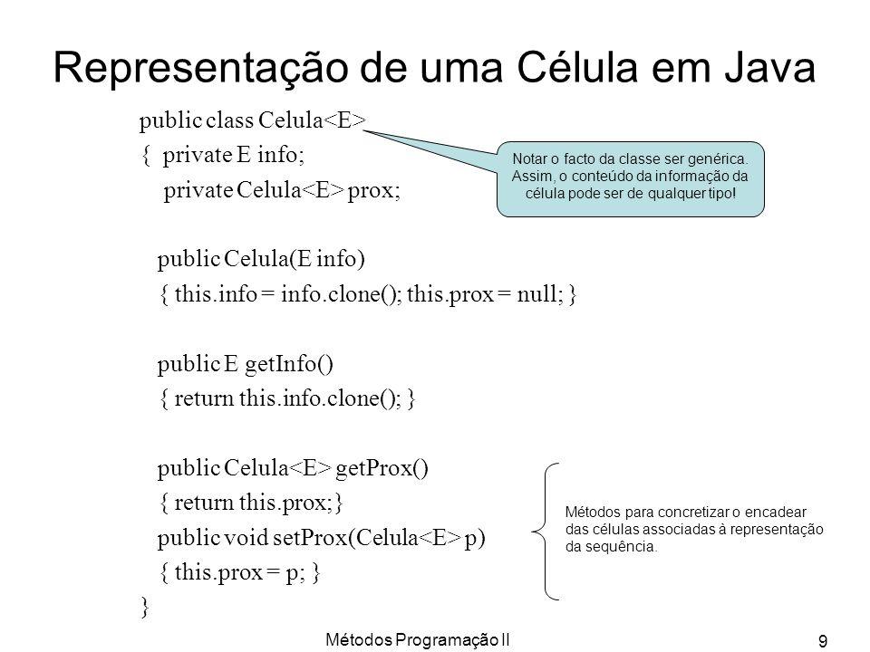 Representação de uma Célula em Java