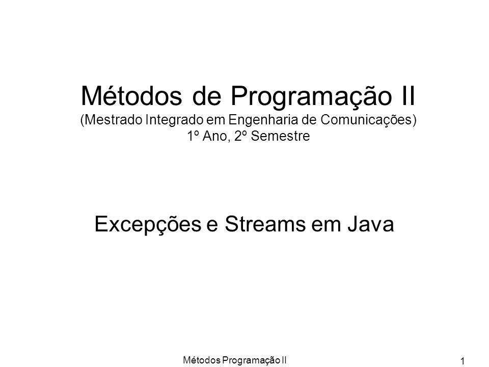 Excepções e Streams em Java