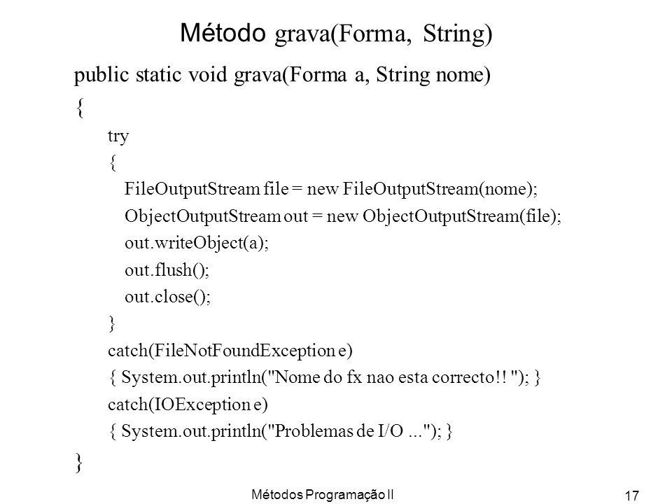 Método grava(Forma, String)