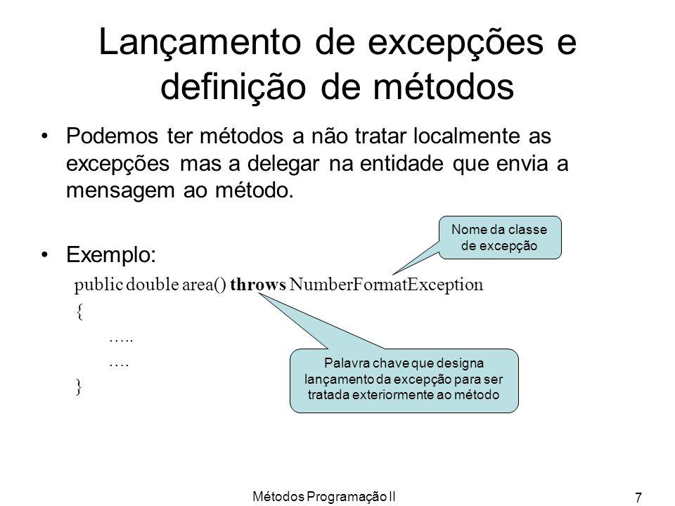 Lançamento de excepções e definição de métodos
