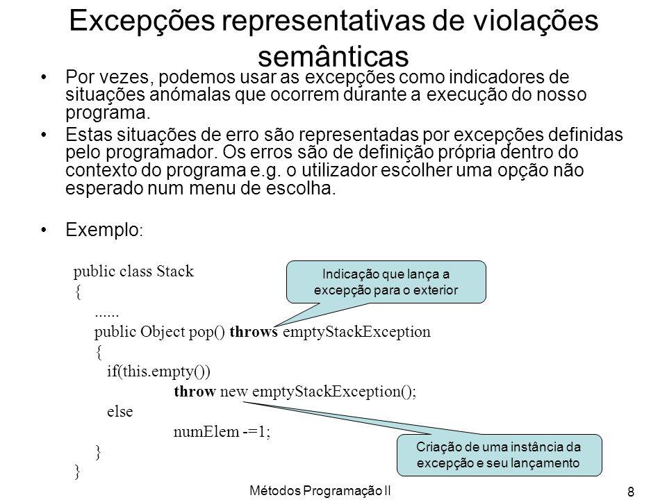 Excepções representativas de violações semânticas