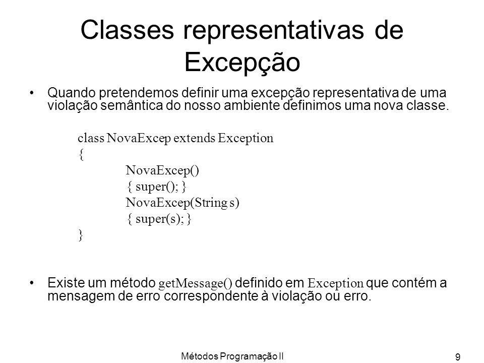 Classes representativas de Excepção
