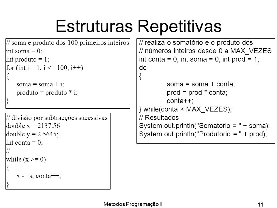 Estruturas Repetitivas