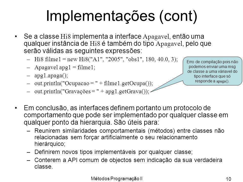 Implementações (cont)