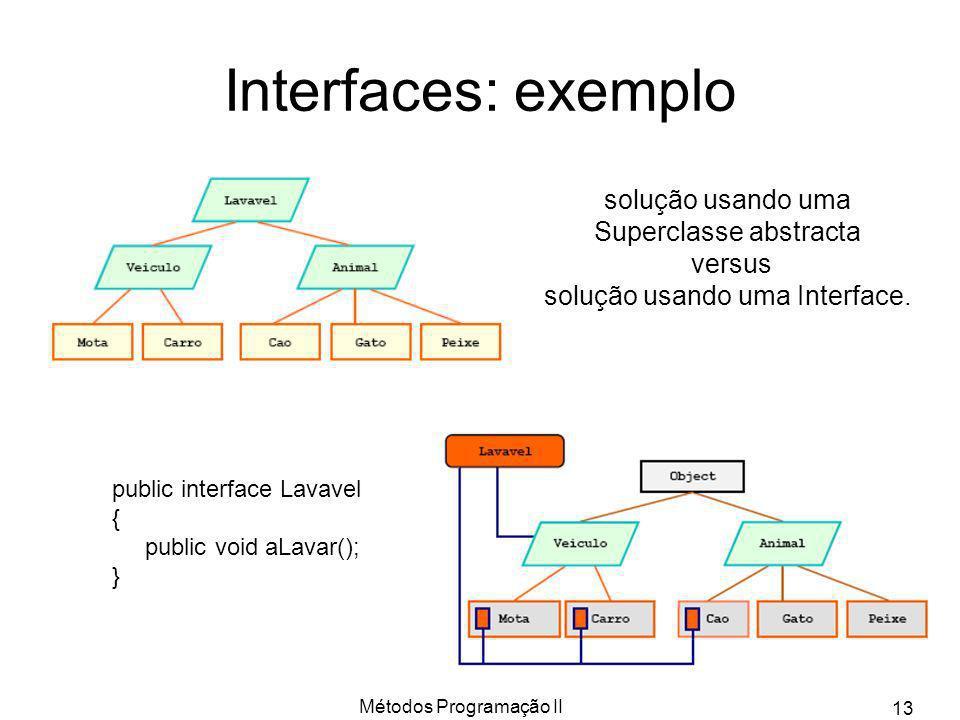 Interfaces: exemplo solução usando uma Superclasse abstracta versus