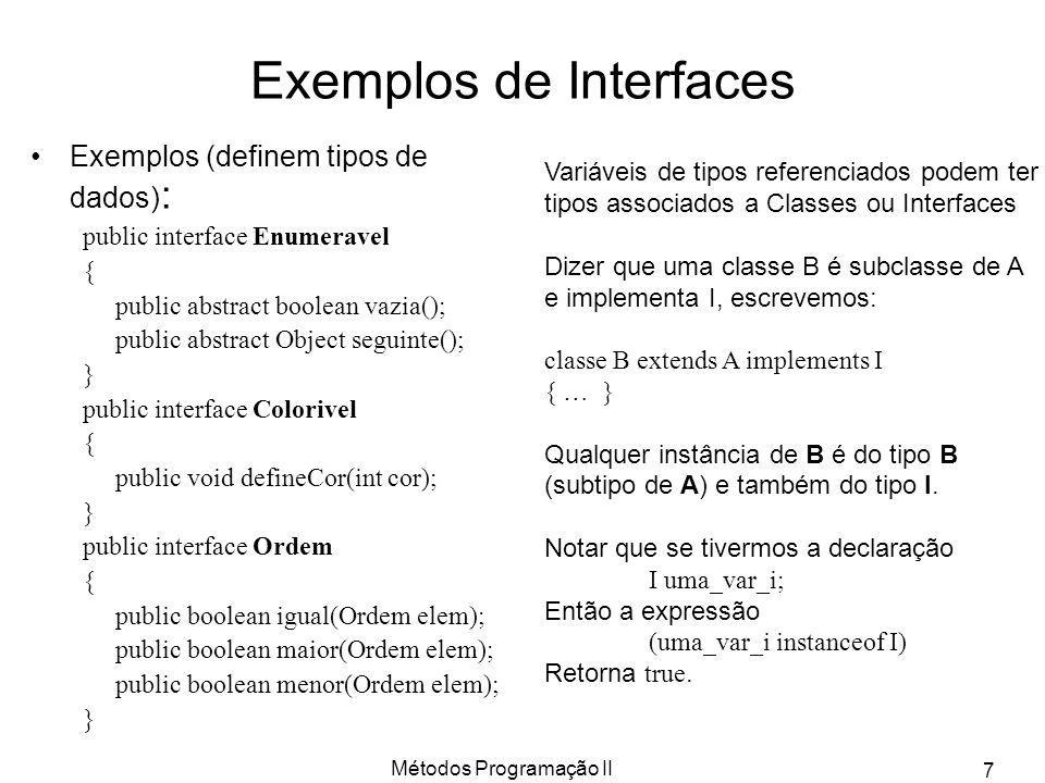 Exemplos de Interfaces