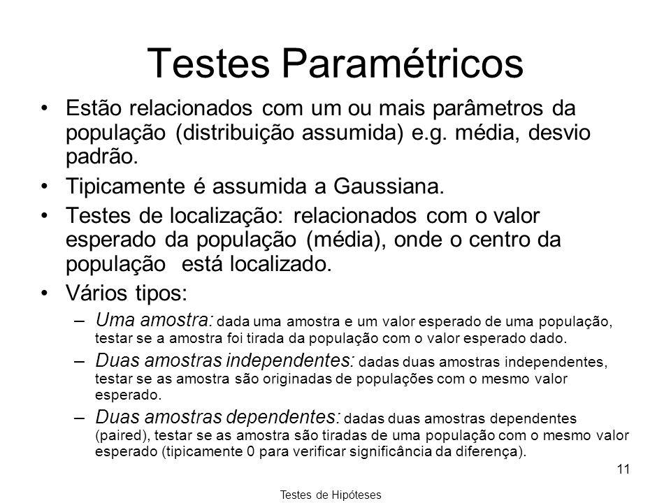 Testes Paramétricos Estão relacionados com um ou mais parâmetros da população (distribuição assumida) e.g. média, desvio padrão.