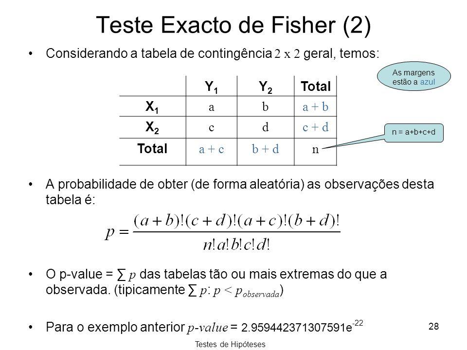 Teste Exacto de Fisher (2)